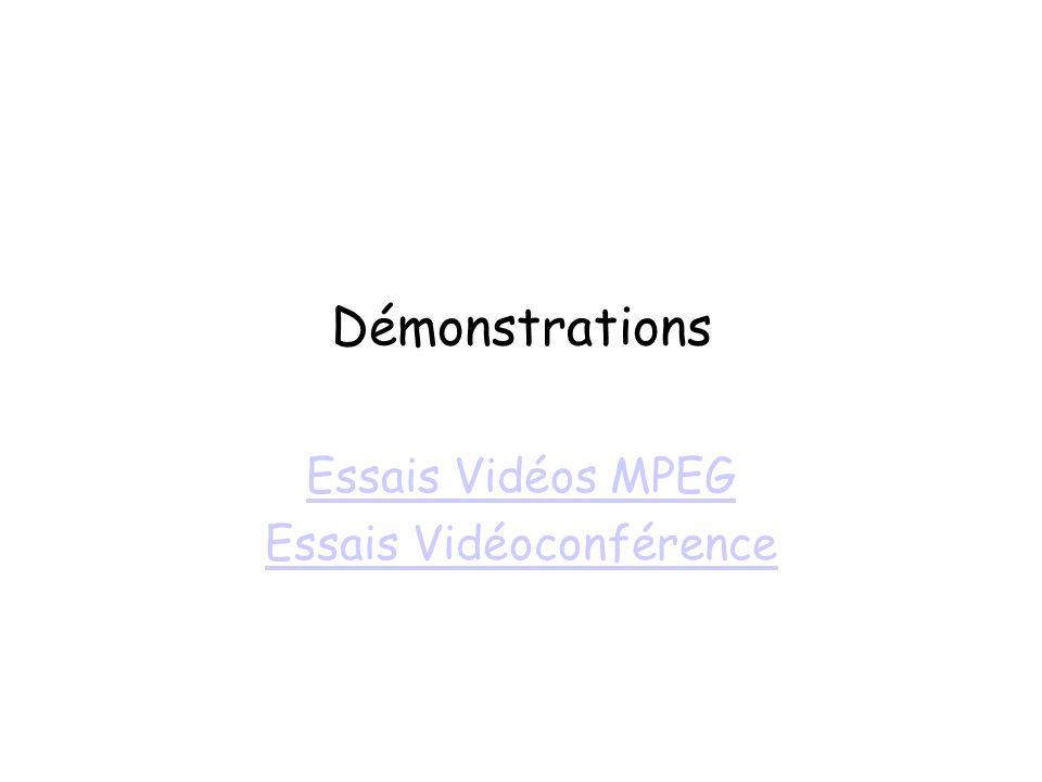 Démonstrations Essais Vidéos MPEG Essais Vidéoconférence