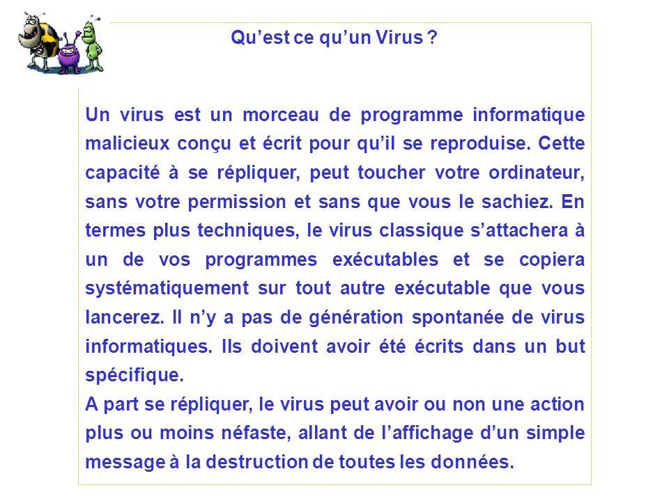 Quest ce quun Virus ? Un virus est un morceau de programme informatique malicieux conçu et écrit pour quil se reproduise. Cette capacité à se réplique