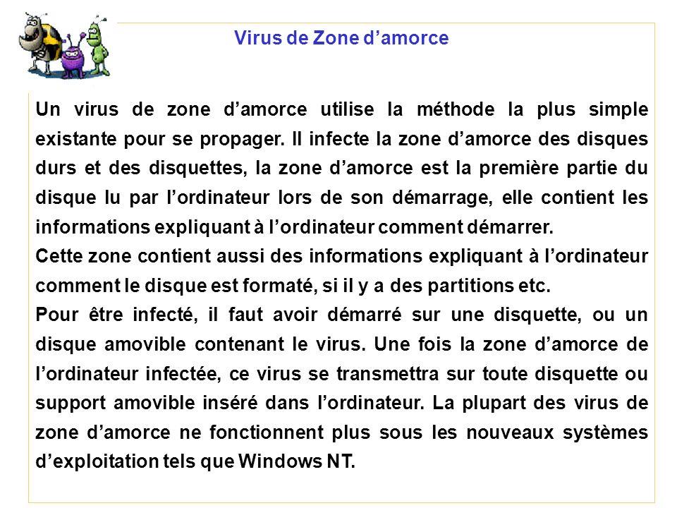 Virus de Zone damorce Un virus de zone damorce utilise la méthode la plus simple existante pour se propager. Il infecte la zone damorce des disques du