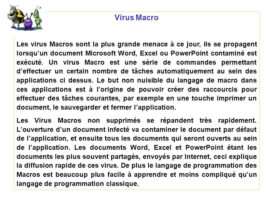 Virus Macro Les virus Macros sont la plus grande menace à ce jour, ils se propagent lorsquun document Microsoft Word, Excel ou PowerPoint contaminé es