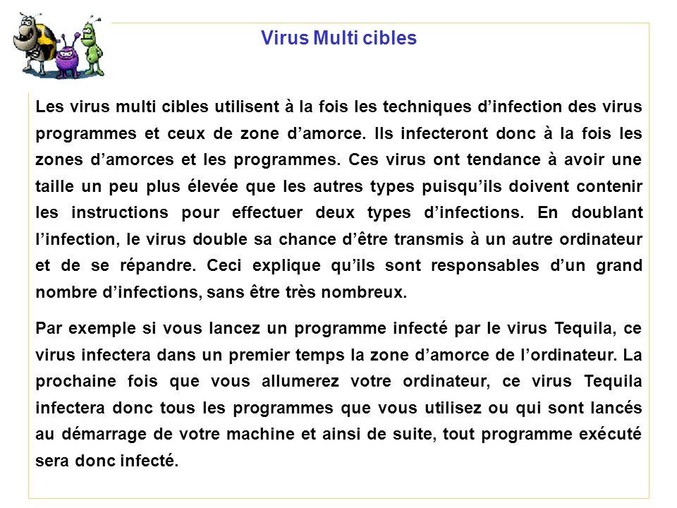 Virus Multi cibles Les virus multi cibles utilisent à la fois les techniques dinfection des virus programmes et ceux de zone damorce. Ils infecteront