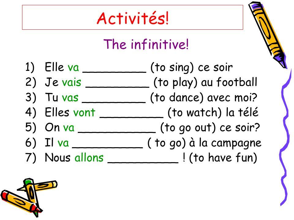 Activités.The infinitive.