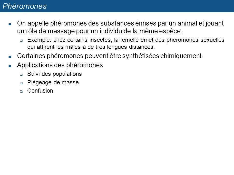 Phéromones On appelle phéromones des substances émises par un animal et jouant un rôle de message pour un individu de la même espèce. Exemple: chez ce