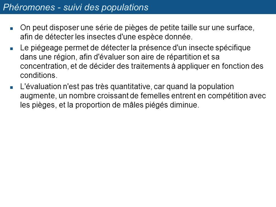 Phéromones - suivi des populations On peut disposer une série de pièges de petite taille sur une surface, afin de détecter les insectes d'une espèce d