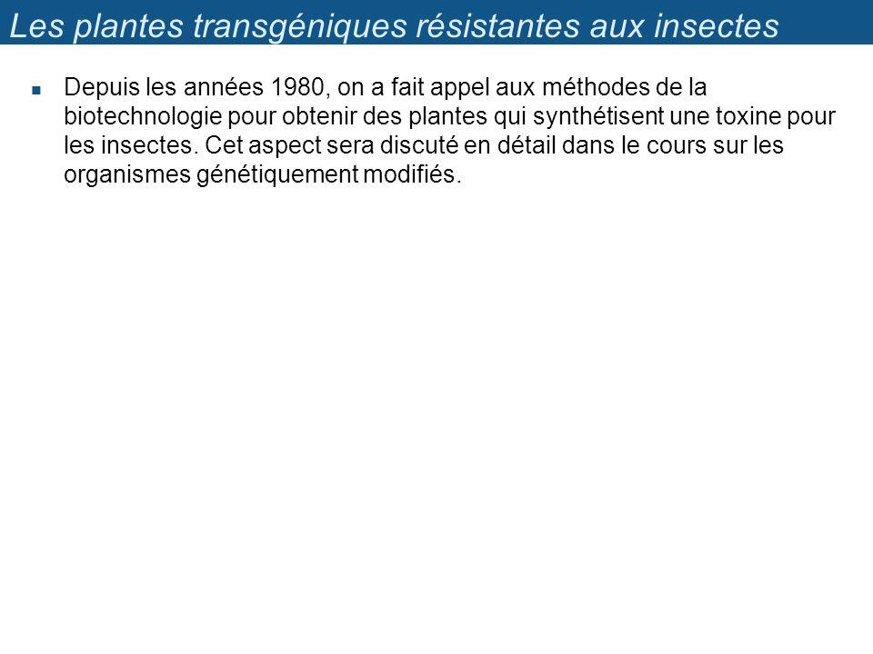 Les plantes transgéniques résistantes aux insectes Depuis les années 1980, on a fait appel aux méthodes de la biotechnologie pour obtenir des plantes