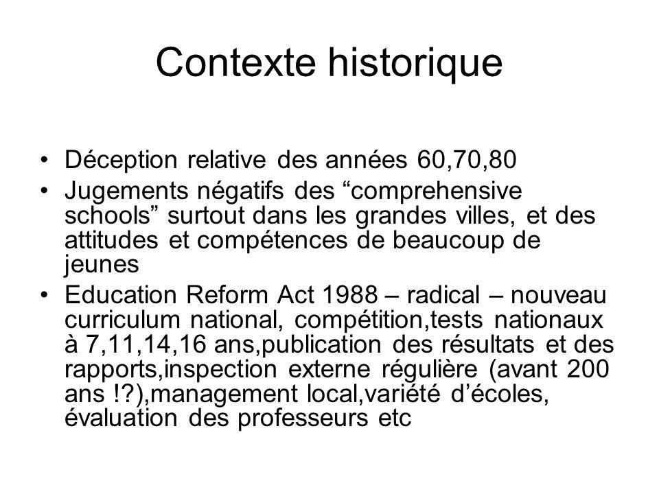 Contexte historique Déception relative des années 60,70,80 Jugements négatifs des comprehensive schools surtout dans les grandes villes, et des attitu