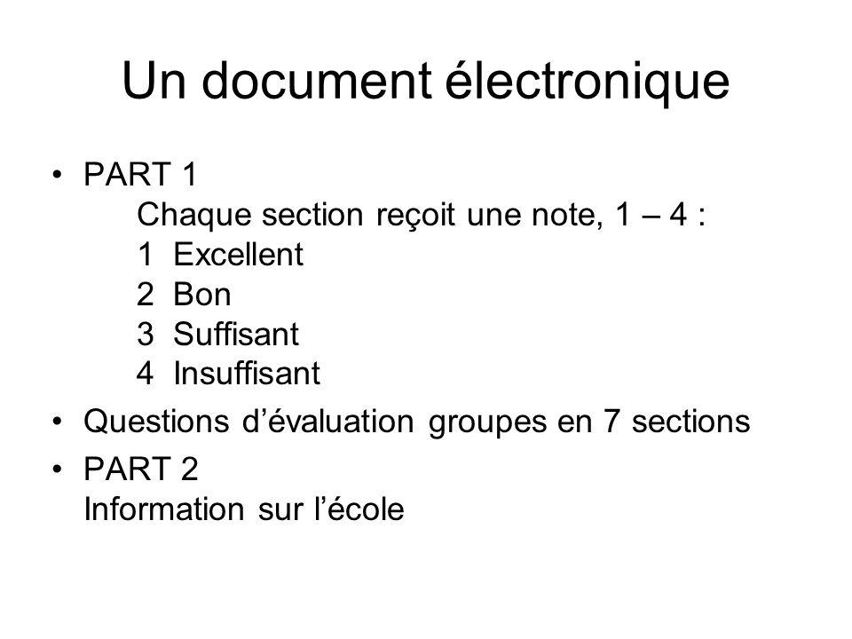 Un document électronique PART 1 Chaque section reçoit une note, 1 – 4 : 1 Excellent 2 Bon 3 Suffisant 4 Insuffisant Questions dévaluation groupes en 7