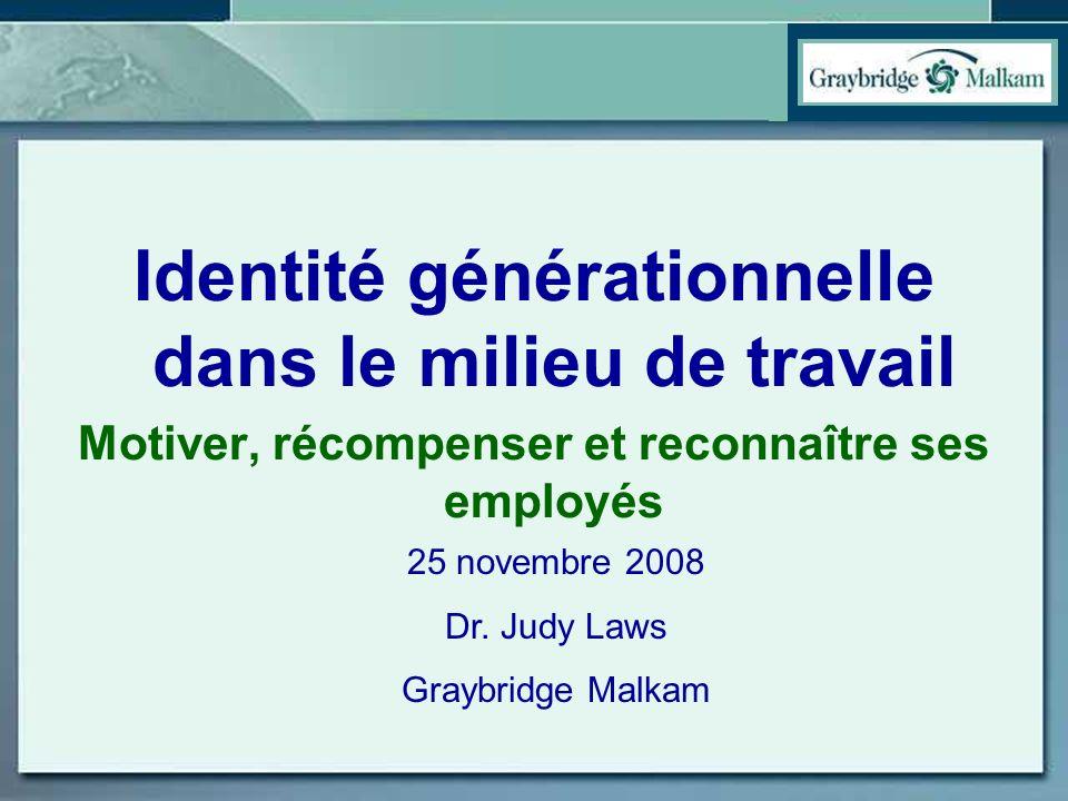 Ordre du jour –Les différences générationnelles dans le milieu du travail –Quest-ce que l`on peut faire pour motiver, récompenser et reconnaître les 4 générations?
