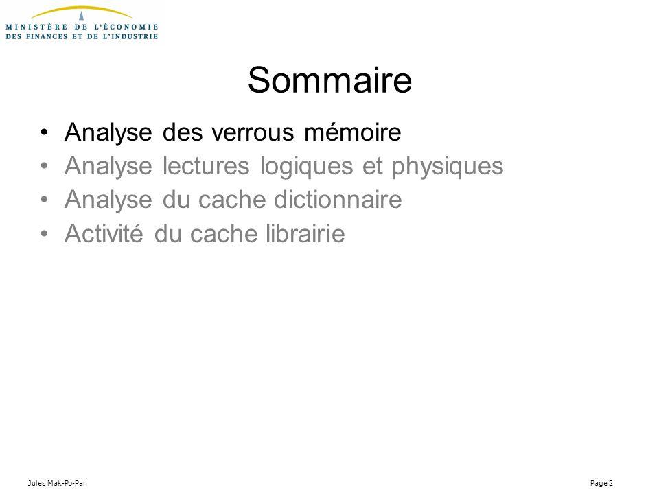 Jules Mak-Po-Pan Page 2 Sommaire Analyse des verrous mémoire Analyse lectures logiques et physiques Analyse du cache dictionnaire Activité du cache li
