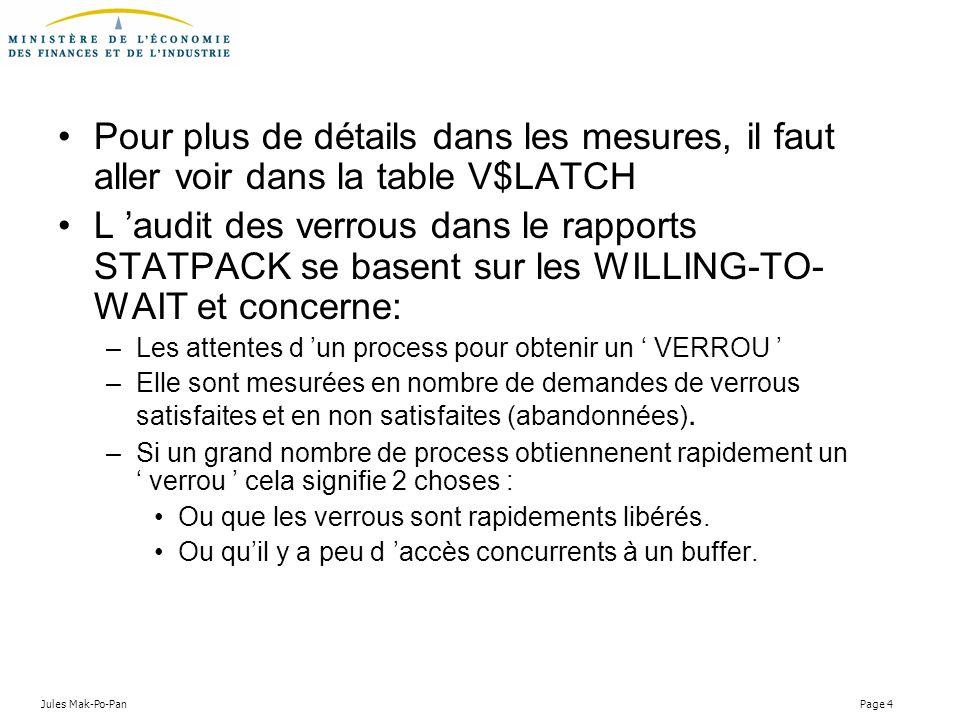 Jules Mak-Po-Pan Page 4 Pour plus de détails dans les mesures, il faut aller voir dans la table V$LATCH L audit des verrous dans le rapports STATPACK