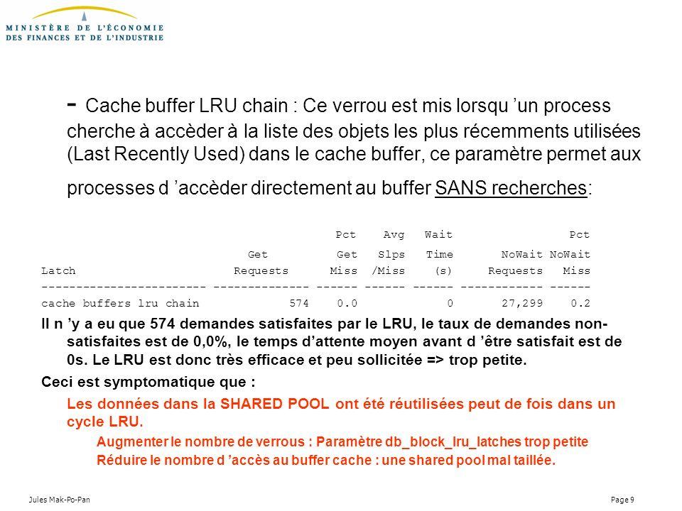 Jules Mak-Po-Pan Page 9 - Cache buffer LRU chain : Ce verrou est mis lorsqu un process cherche à accèder à la liste des objets les plus récemments uti