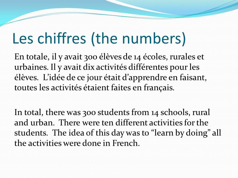 Les chiffres (the numbers) En totale, il y avait 300 élèves de 14 écoles, rurales et urbaines. Il y avait dix activités différentes pour les élèves. L