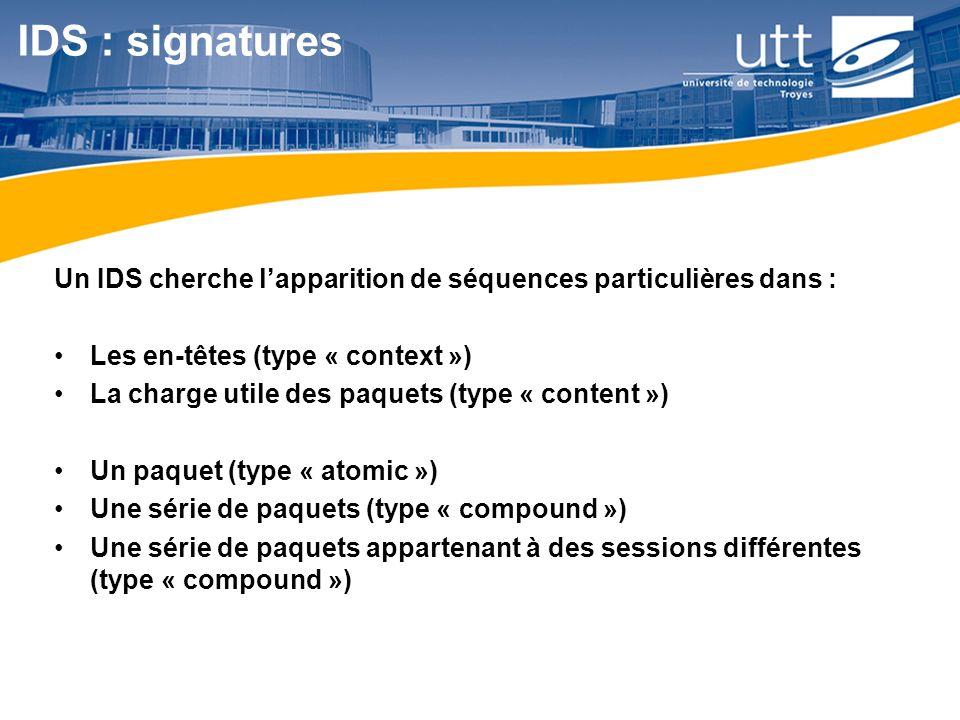 RE1612 IDS : signatures Un IDS cherche lapparition de séquences particulières dans : Les en-têtes (type « context ») La charge utile des paquets (type