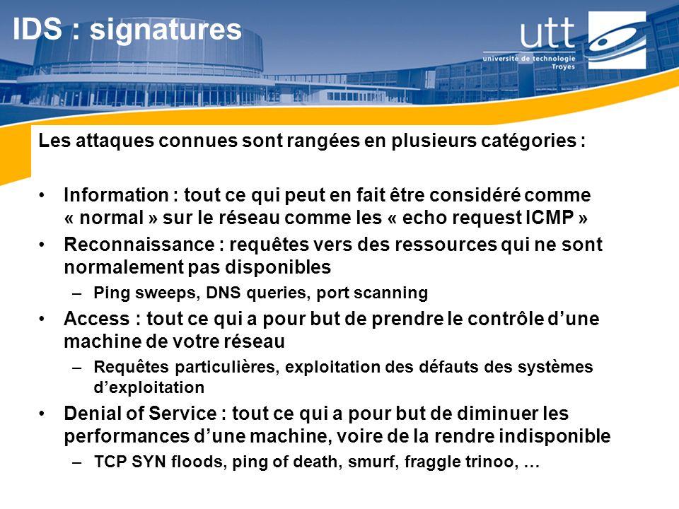 RE1614 IDS : signatures Ordre de grandeur : Sur les derniers IOS cisco, plus de 1640 signatures sont reconnues .