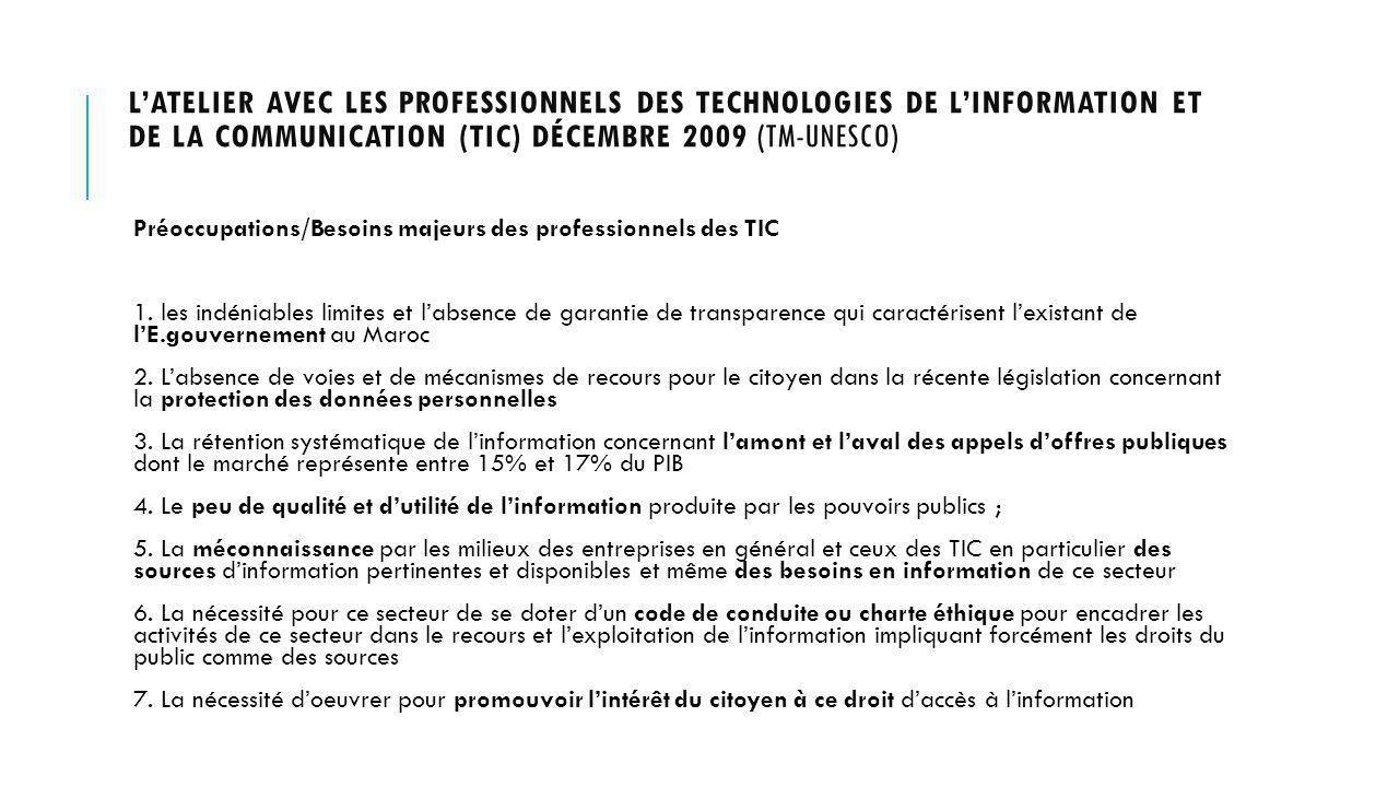 LATELIER AVEC LES PROFESSIONNELS DES TECHNOLOGIES DE LINFORMATION ET DE LA COMMUNICATION (TIC) DÉCEMBRE 2009 (TM-UNESCO) Préoccupations/Besoins majeurs des professionnels des TIC 1.