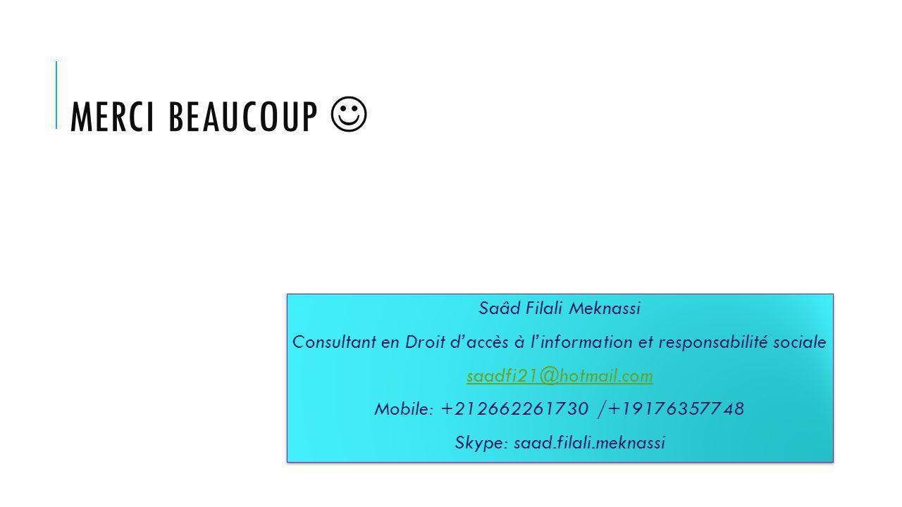 MERCI BEAUCOUP Saâd Filali Meknassi Consultant en Droit daccès à linformation et responsabilité sociale saadfi21@hotmail.com Mobile: +212662261730 /+19176357748 Skype: saad.filali.meknassi Saâd Filali Meknassi Consultant en Droit daccès à linformation et responsabilité sociale saadfi21@hotmail.com Mobile: +212662261730 /+19176357748 Skype: saad.filali.meknassi