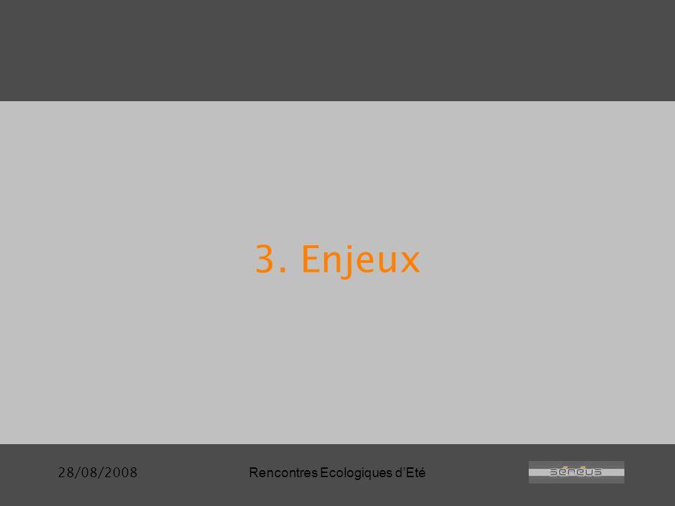 28/08/2008Rencontres Ecologiques dEté 3. Enjeux