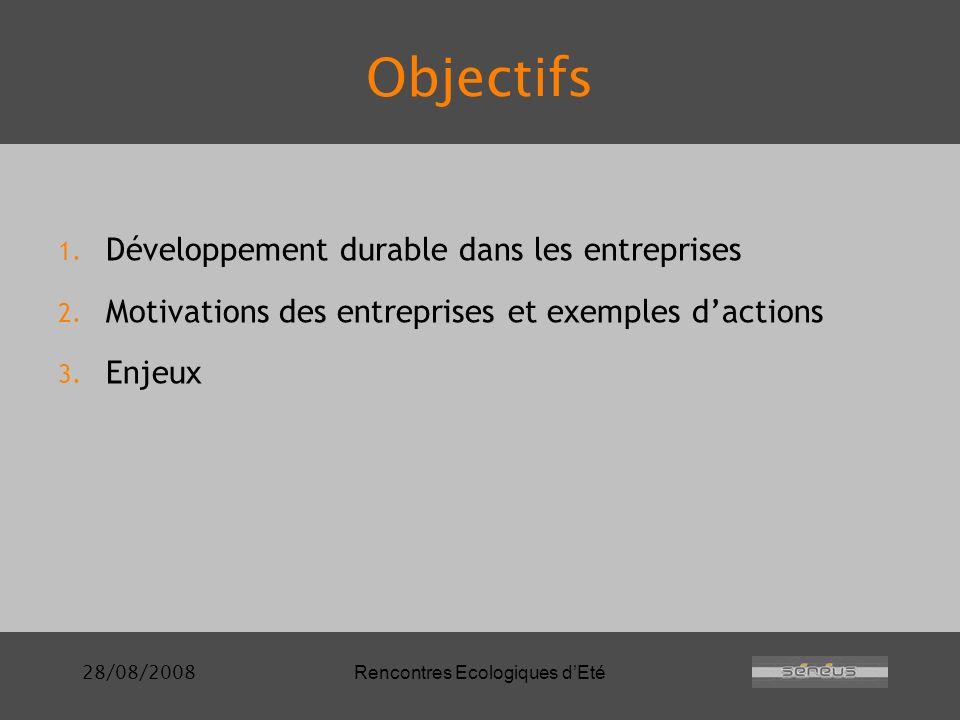 28/08/2008Rencontres Ecologiques dEté Objectifs 1.