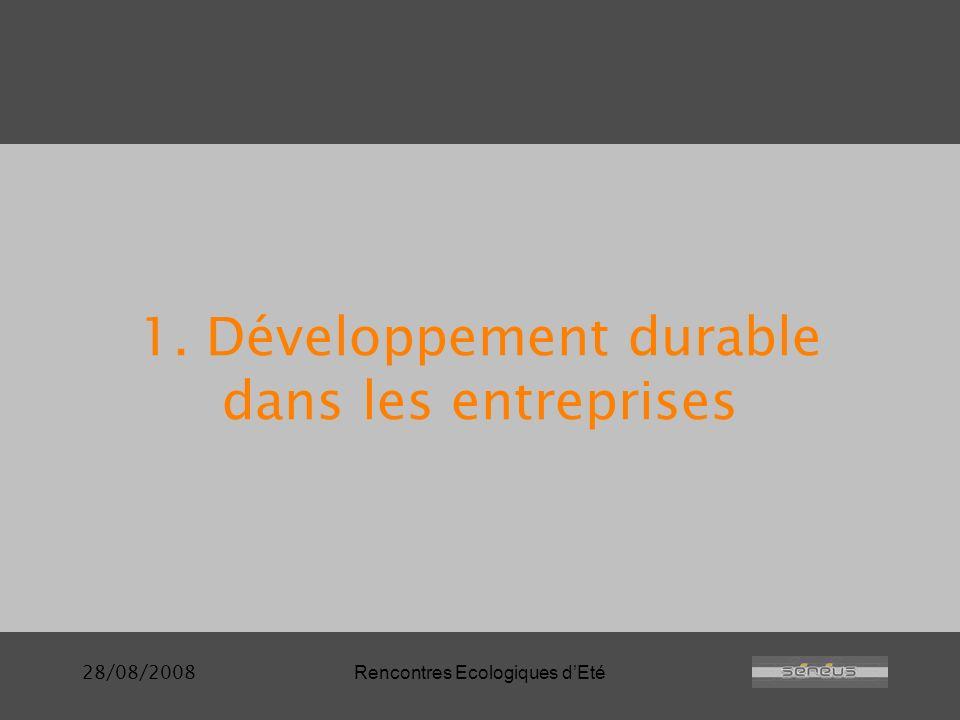 28/08/2008Rencontres Ecologiques dEté 1. Développement durable dans les entreprises