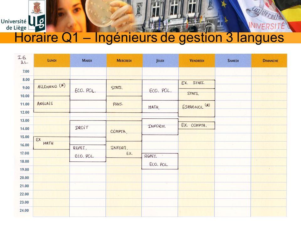 Horaire Q1 – Ingénieurs de gestion 3 langues