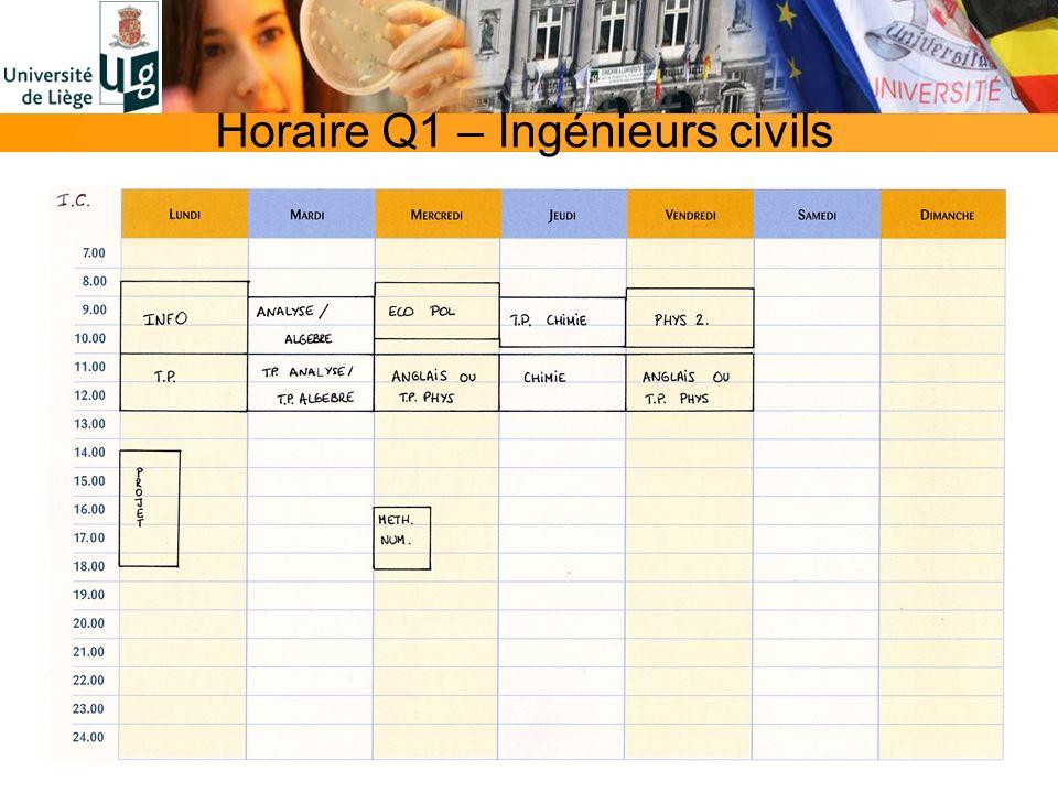 Horaire Q1 – Ingénieurs civils