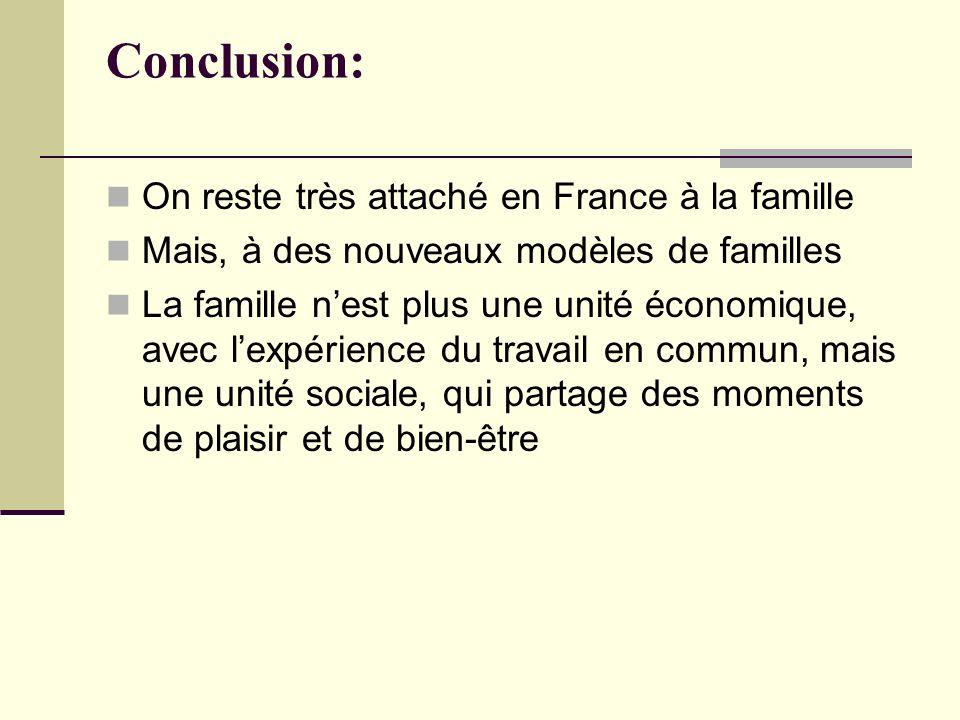 Conclusion: On reste très attaché en France à la famille Mais, à des nouveaux modèles de familles La famille nest plus une unité économique, avec lexp