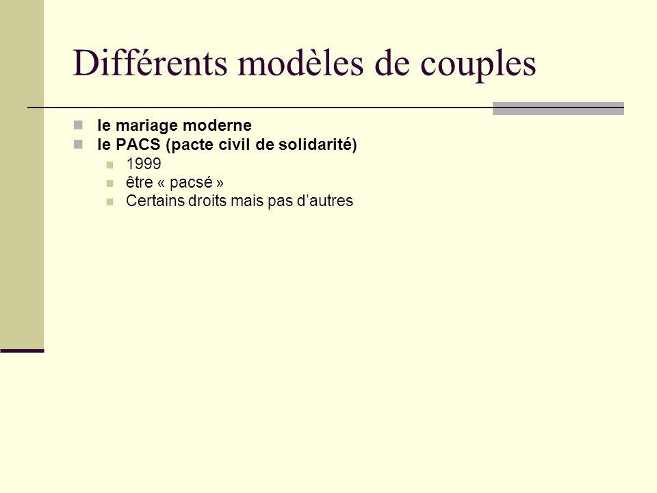 Différents modèles de couples le mariage moderne le PACS (pacte civil de solidarité) 1999 être « pacsé » Certains droits mais pas dautres