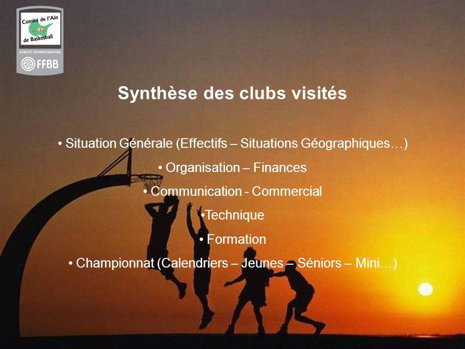 7 Synthèse des clubs visités Situation Générale (Effectifs – Situations Géographiques…) Organisation – Finances Communication - Commercial Technique Formation Championnat (Calendriers – Jeunes – Séniors – Mini…)