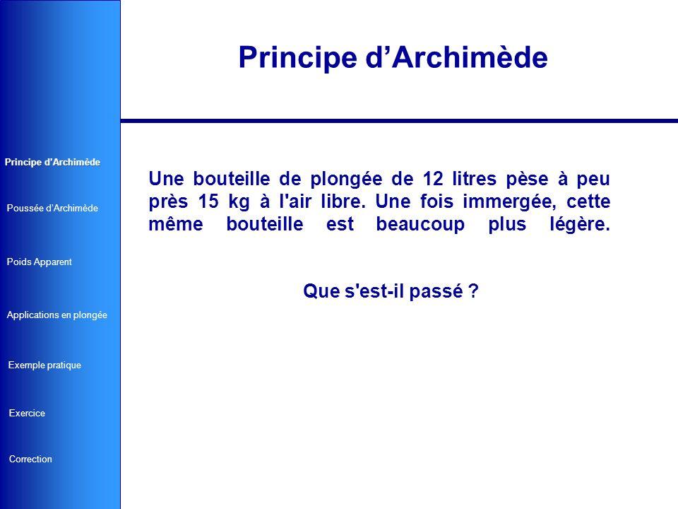 L eau va exercer une force tendant à faire remonter le bloc vers la surface, c est la « Poussée d Archimède » (PA).