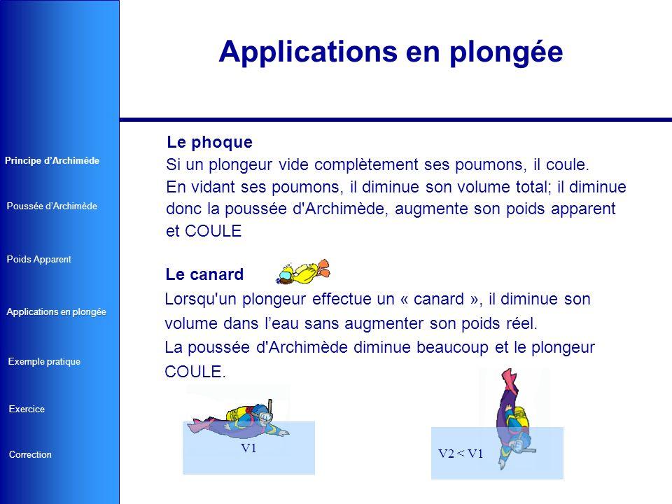 Applications en plongée Le SSG ou stab Lorsqu un plongeur gonfle sa bouée, il augmente son volume sans augmenter son poids réel.