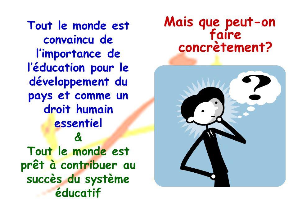 Tout le monde est convaincu de limportance de léducation pour le développement du pays et comme un droit humain essentiel & Tout le monde est prêt à c