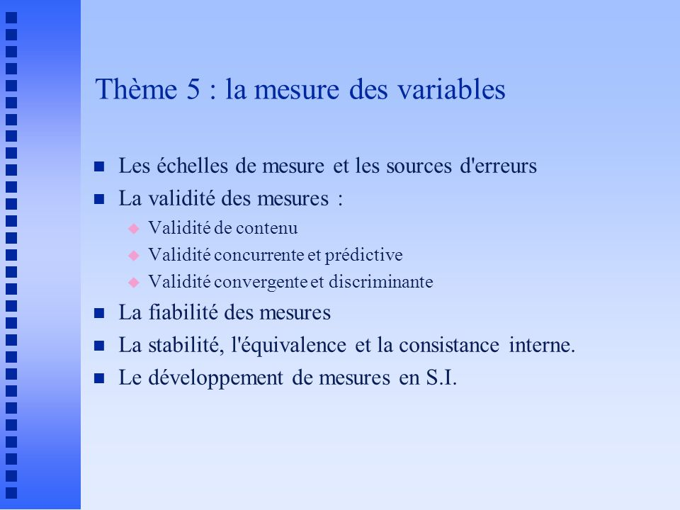 Les dimensions du construit : media de communication n Media Facteur 1 Facteur 2 Facteur 3 n Lettre 0,8114 n Notes écrites 0,7930 n Messages vocaux 0,6825 n Fax 0,5710 0,5537 n Réunions électr.