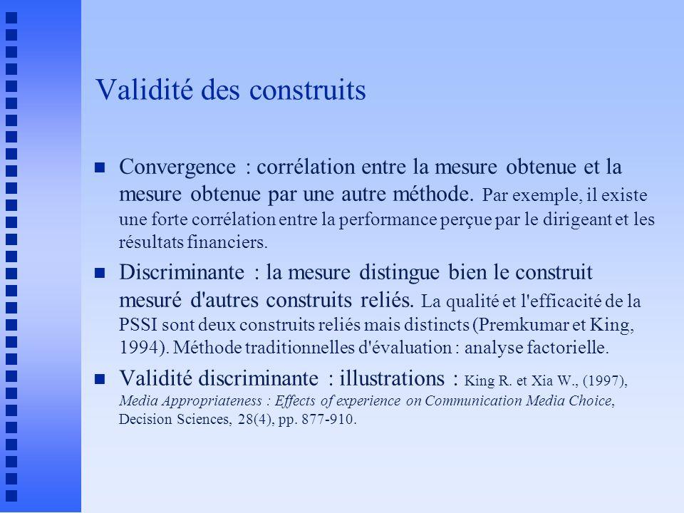 Validité des construits n Convergence : corrélation entre la mesure obtenue et la mesure obtenue par une autre méthode.