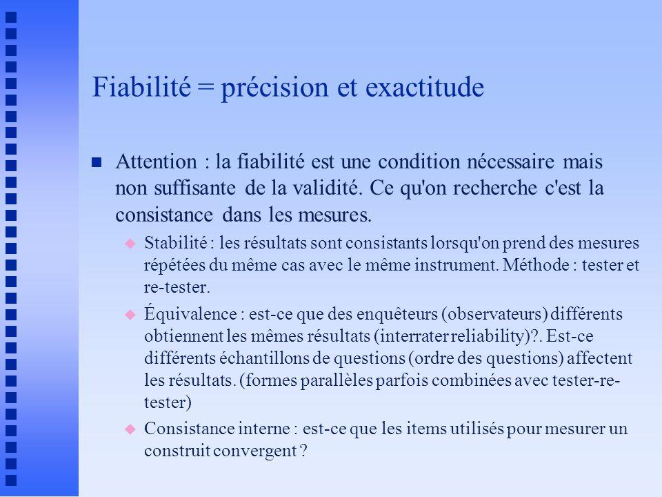 Fiabilité = précision et exactitude n Attention : la fiabilité est une condition nécessaire mais non suffisante de la validité.