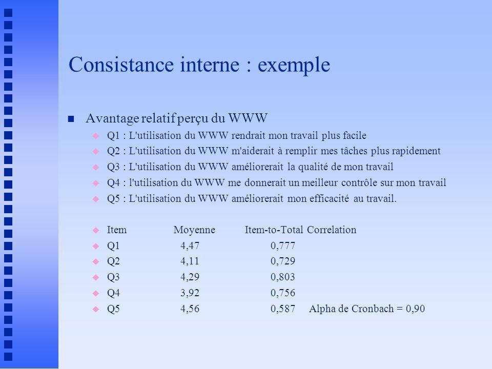 Consistance interne : exemple n Avantage relatif perçu du WWW u Q1 : L utilisation du WWW rendrait mon travail plus facile u Q2 : L utilisation du WWW m aiderait à remplir mes tâches plus rapidement u Q3 : L utilisation du WWW améliorerait la qualité de mon travail u Q4 : l utilisation du WWW me donnerait un meilleur contrôle sur mon travail u Q5 : L utilisation du WWW améliorerait mon efficacité au travail.