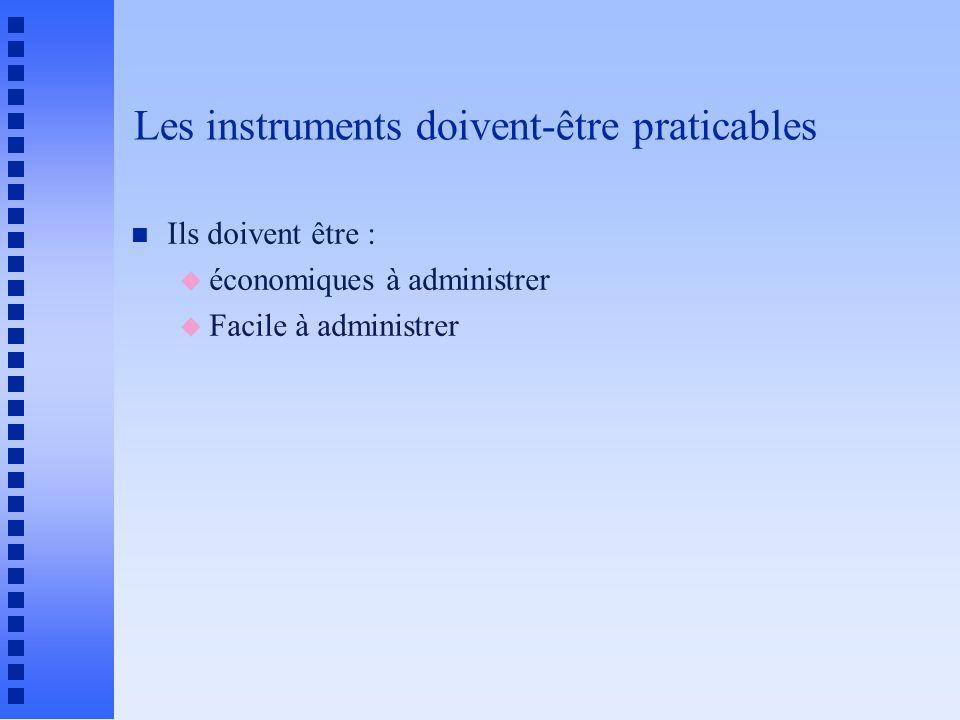 Les instruments doivent-être praticables n Ils doivent être : u économiques à administrer u Facile à administrer