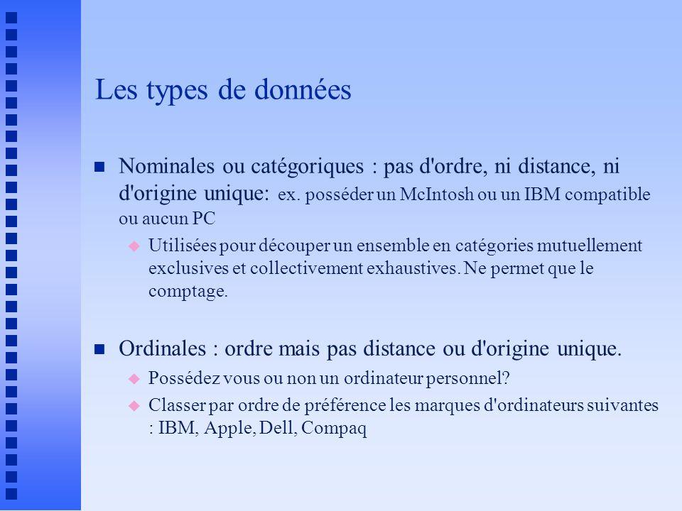 Les types de données n Nominales ou catégoriques : pas d ordre, ni distance, ni d origine unique: ex.