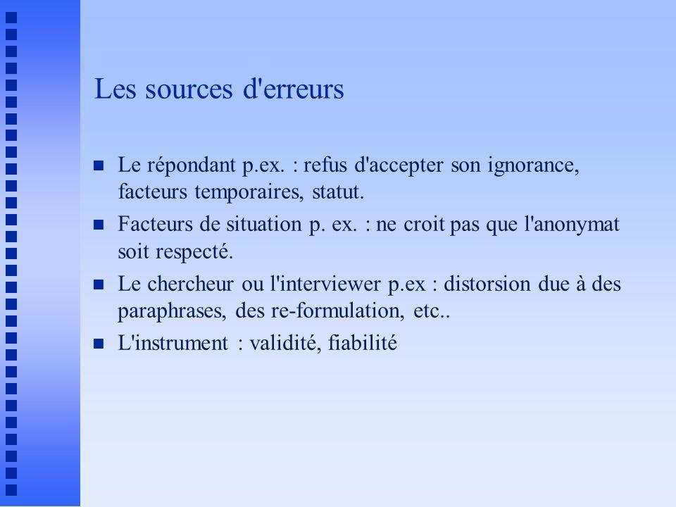 Les sources d erreurs n Le répondant p.ex.