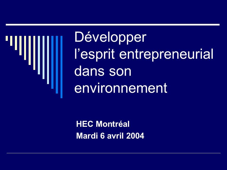 Développer lesprit entrepreneurial dans son environnement HEC Montréal Mardi 6 avril 2004