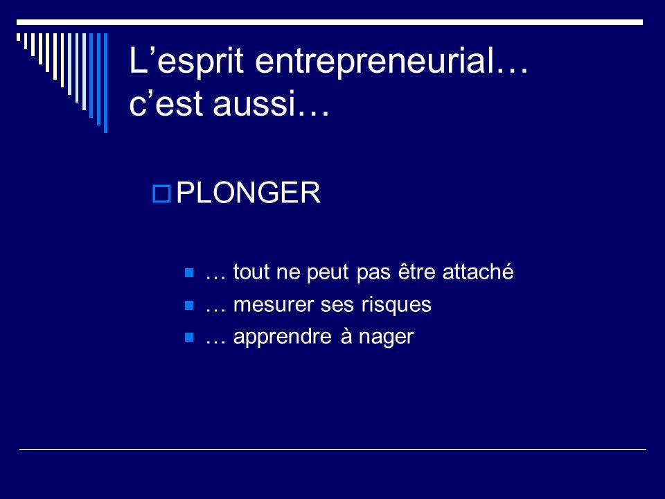 Lesprit entrepreneurial… cest aussi… PLONGER … tout ne peut pas être attaché … mesurer ses risques … apprendre à nager