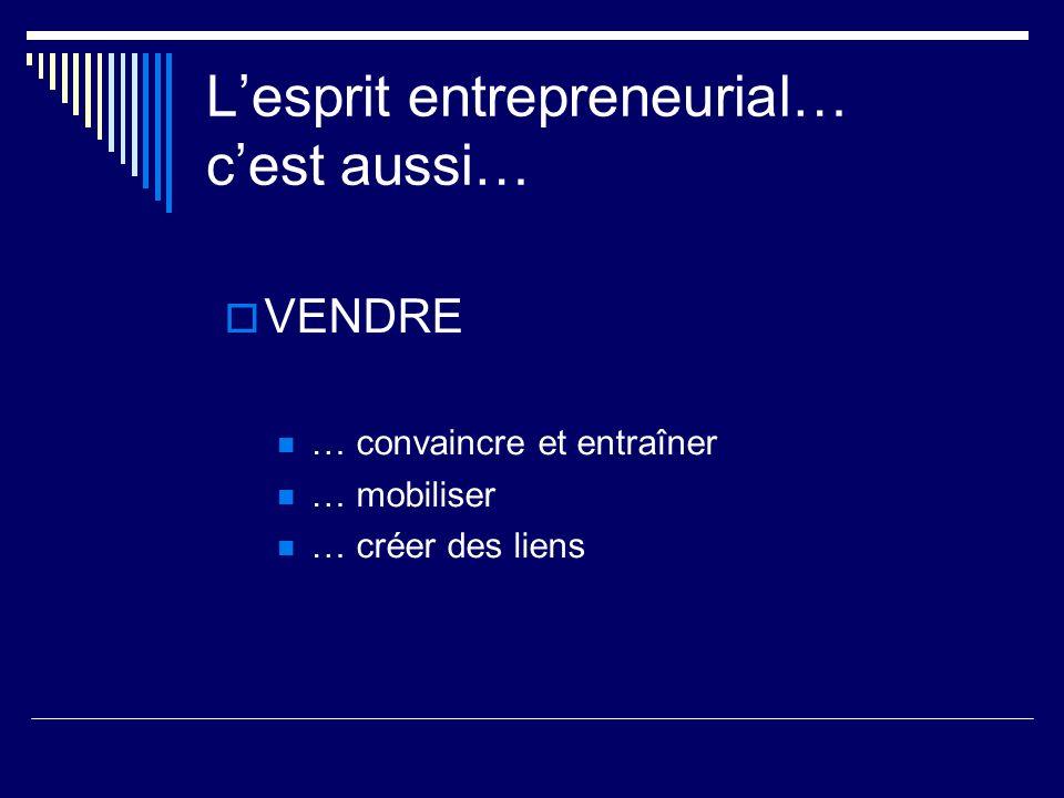 Lesprit entrepreneurial… cest aussi… VENDRE … convaincre et entraîner … mobiliser … créer des liens