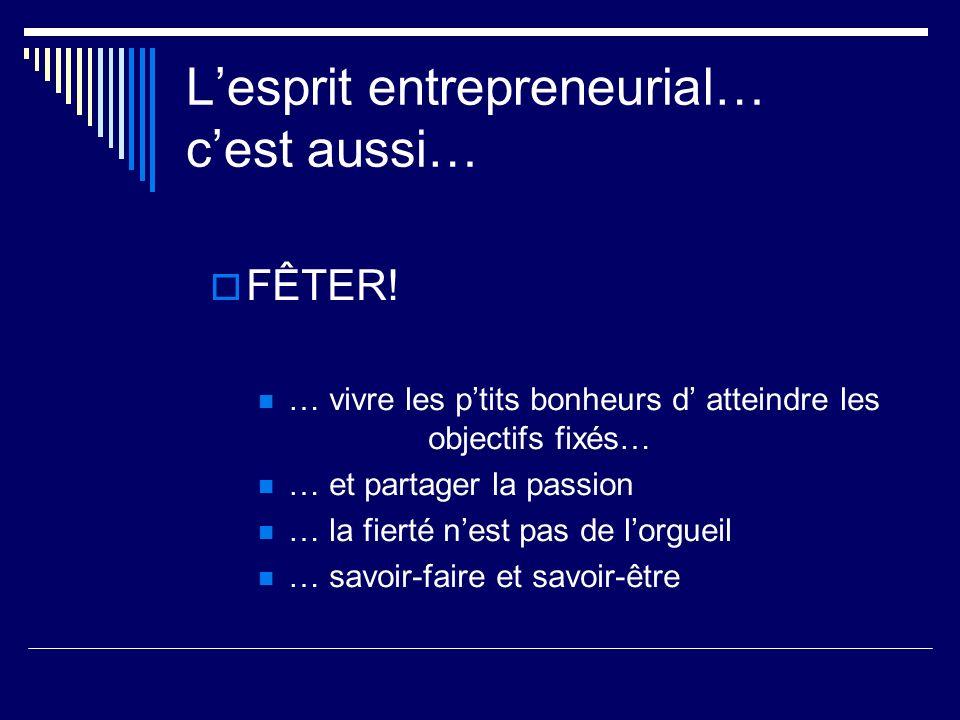 Lesprit entrepreneurial… cest aussi… FÊTER! … vivre les ptits bonheurs d atteindre les objectifs fixés… … et partager la passion … la fierté nest pas