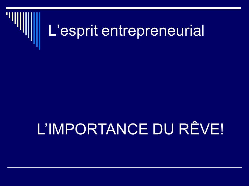 Lesprit entrepreneurial LIMPORTANCE DU RÊVE!