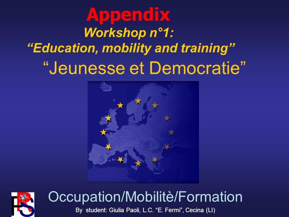 Jeunesse et Democratie Occupation/Mobilitè/Formation By student: Giulia Paoli, L.C.