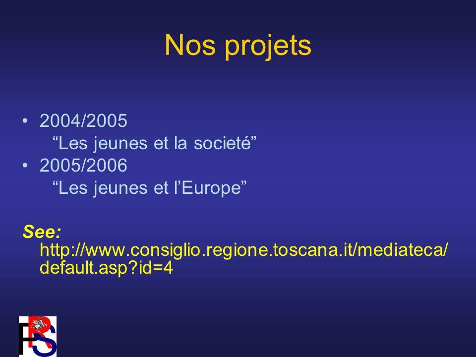 Nos projets 2004/2005 Les jeunes et la societé 2005/2006 Les jeunes et lEurope See: http://www.consiglio.regione.toscana.it/mediateca/ default.asp id=4