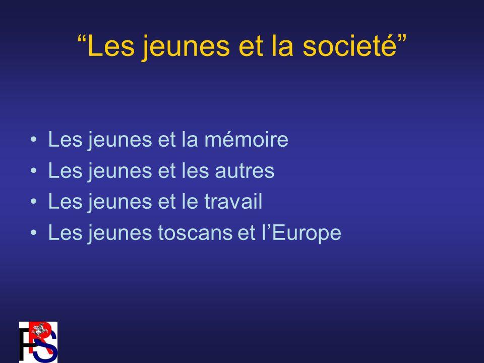 Les jeunes et la societé Les jeunes et la mémoire Les jeunes et les autres Les jeunes et le travail Les jeunes toscans et lEurope