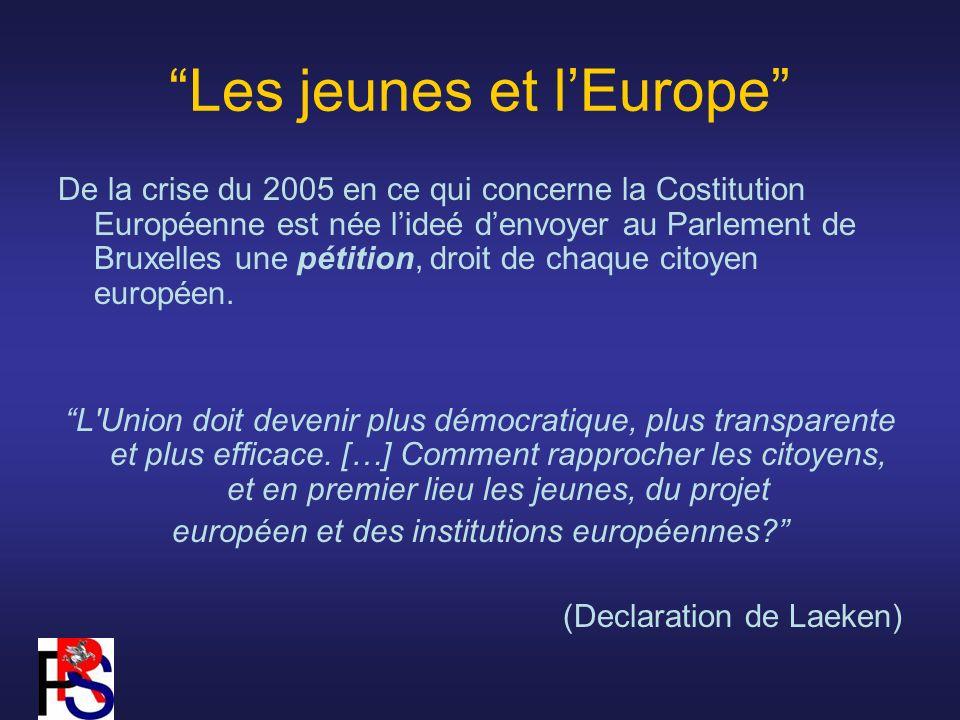 Les jeunes et lEurope De la crise du 2005 en ce qui concerne la Costitution Européenne est née lideé denvoyer au Parlement de Bruxelles une pétition, droit de chaque citoyen européen.