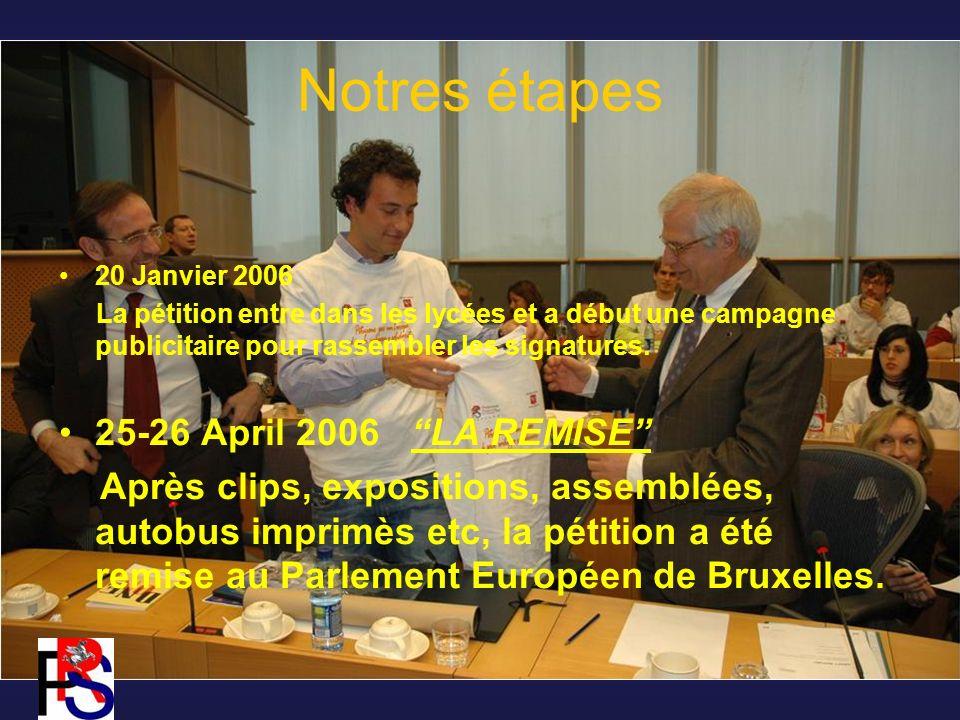 Notres étapes 20 Janvier 2006 La pétition entre dans les lycées et a début une campagne publicitaire pour rassembler les signatures.