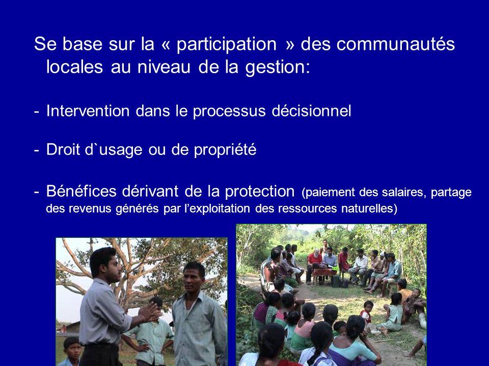 Se base sur la « participation » des communautés locales au niveau de la gestion: -Intervention dans le processus décisionnel -Droit d`usage ou de propriété -Bénéfices dérivant de la protection (paiement des salaires, partage des revenus générés par lexploitation des ressources naturelles)