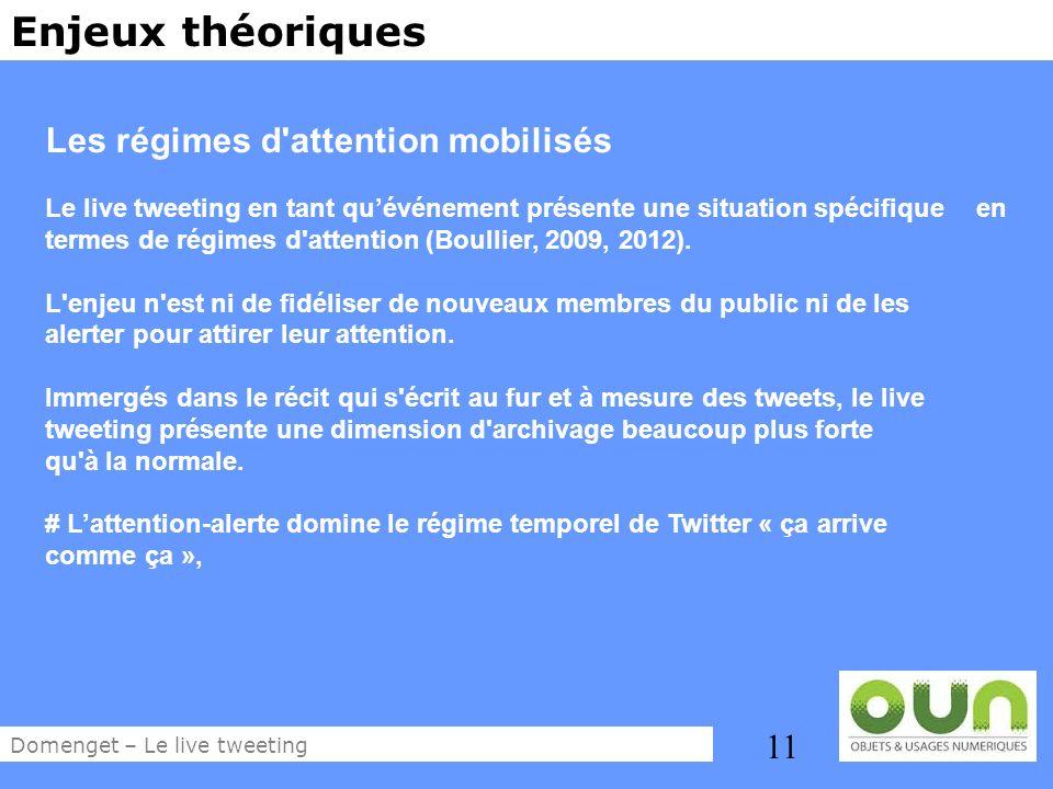 11 Enjeux théoriques Les régimes d'attention mobilisés Le live tweeting en tant quévénement présente une situation spécifique en termes de régimes d'a